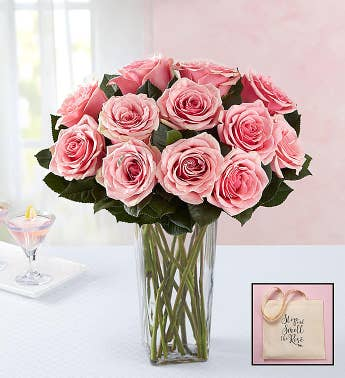 Pink Roses with Free Tote Bag