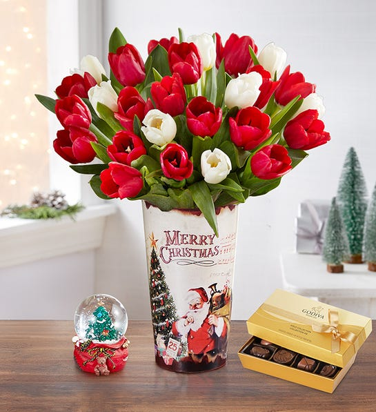 Merry and Bright Tulips w/Santa Tin, Snow Globe & Godiva Chocolate