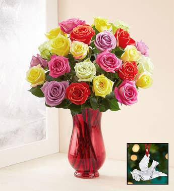 Assorted Christmas Roses with Waterford Dove Ornament