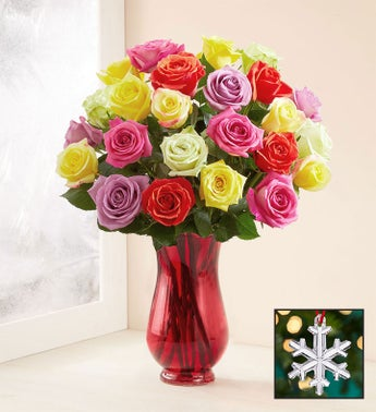 Assorted Christmas Roses with Waterford® Snowflake Ornament
