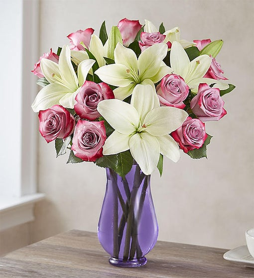 Fair Trade Certified Purple Rose & White Lily