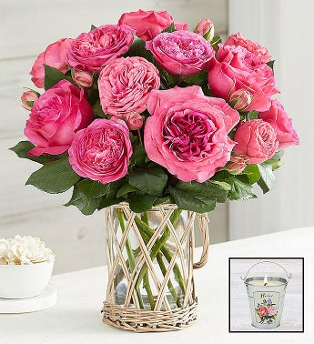 English Garden Rose Bouquet, Hot Pink