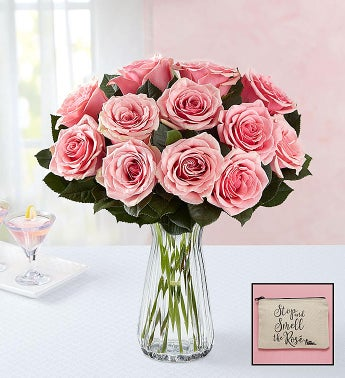 Pink Roses with Free Rosé Cosmetic Bag