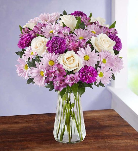 Lavender Garden Bouquet with Clear Vase