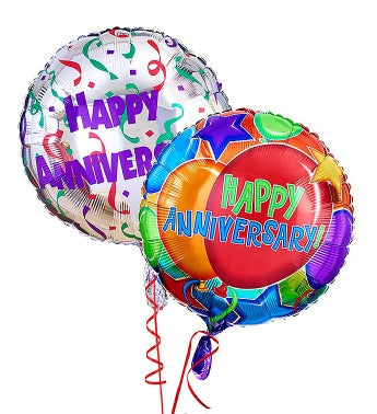 Two Mylar Balloons (Balloon designs may vary) Happy Anniversary
