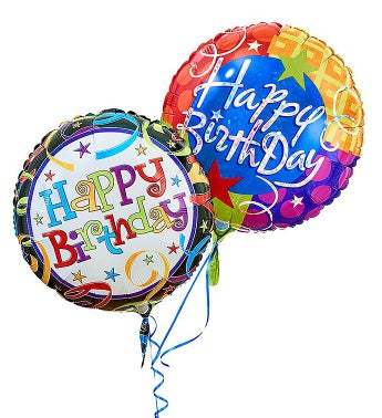 Two Mylar Balloons (Balloon designs may vary) Happy Birthday