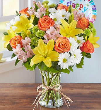Same Day Local Florist Delivery Fields Of Europe Happy Birthday Bouquet