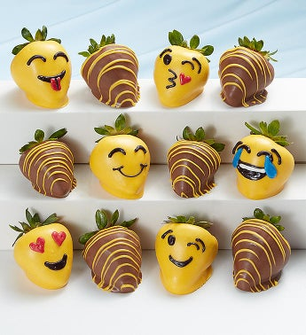 Full Dozen Emoticon Chocolate Covered Strawberries