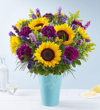 Golden Sunflowers in Rustic Charm Vase