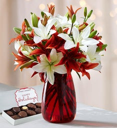 Holiday Lily Mix + Free Red Vase