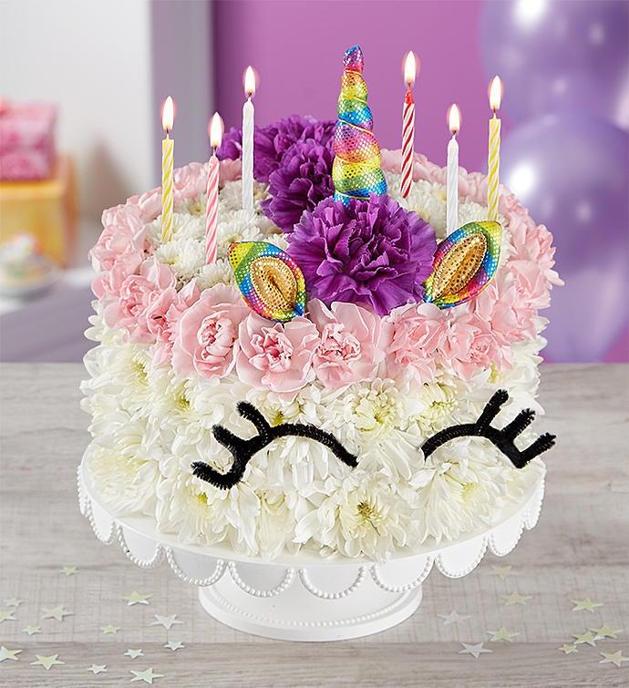Birthday Wishes Flower Cake Unicorn