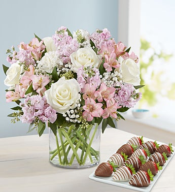 Elegant Blush™ Bouquet with Strawberries