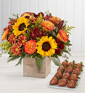 Harvest Glow™ Bouquet with Strawberries