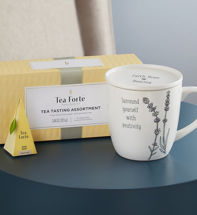 Warm & Cozy Tea Gift Set- Tea, Mug and Blanket