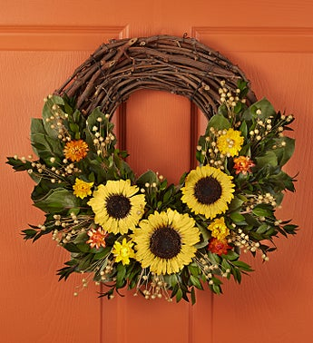 """Preserved Sunflower Luna Wreath-18"""