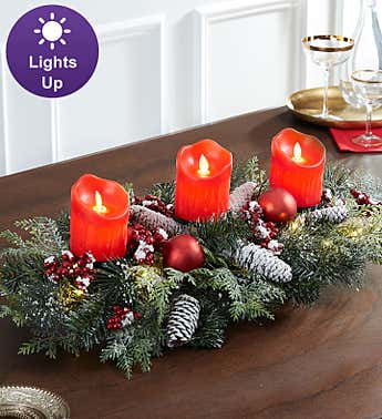 Christmas Lights Centerpiece with LED Candle