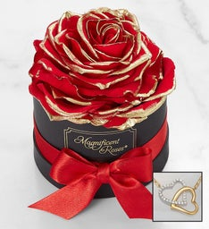 Magnificent Roses®Preserved Gold Kissed & Necklace