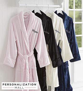 Classic Comfort Embroidered Luxury Fleece Robe