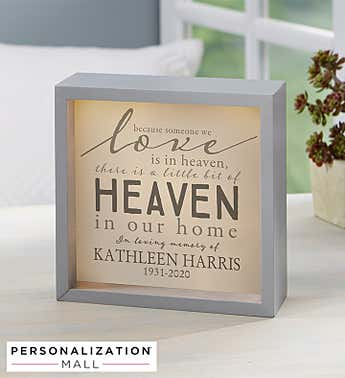 Heaven In Our Home Personalized Light Shadow Box