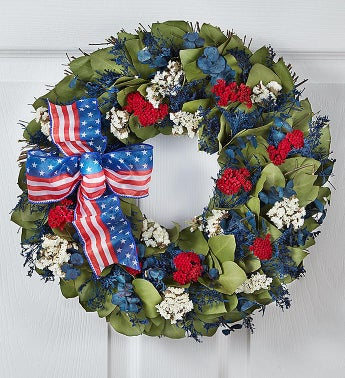 Preserved Red, White and Beautiful Wreath - 16""