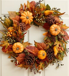Festive Faux Pumpkin and Gourd Wreath - 24""