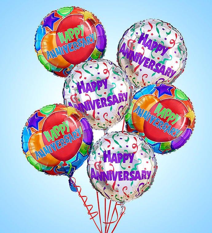 Air-Rangement® - Anniversary Mylar Balloons Half Dozen