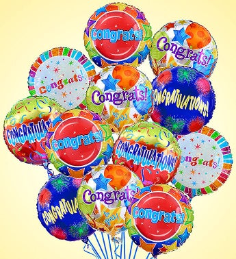 Air-Rangement® - Congratulations Mylar Balloons One Dozen