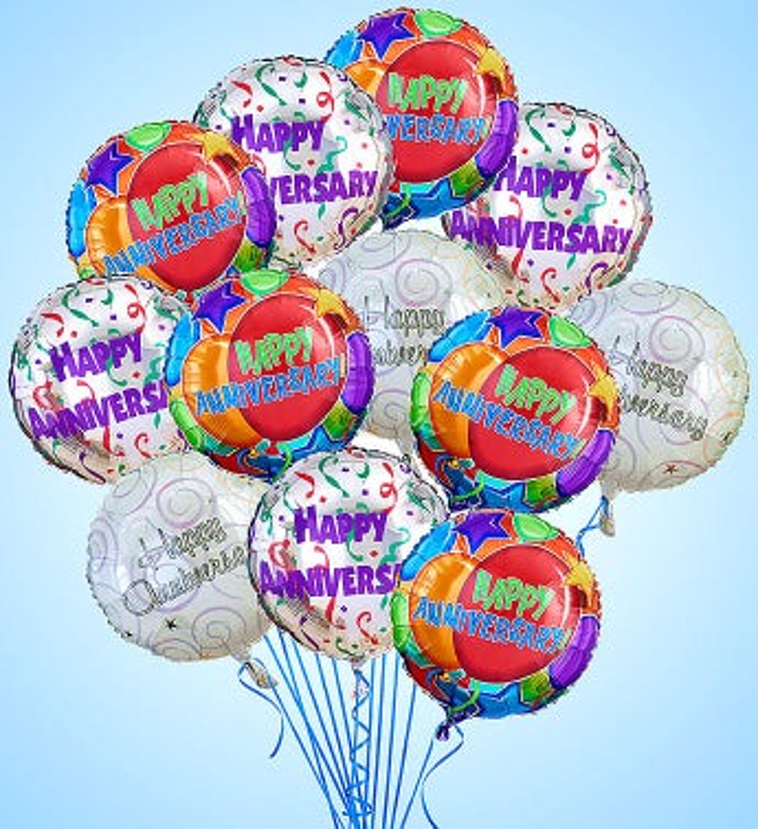 Air-Rangement® - Anniversary Mylar Balloons One Dozen