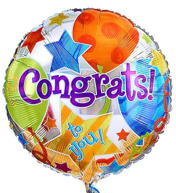 One Mylar Balloon (Balloon designs may vary) Congratulations