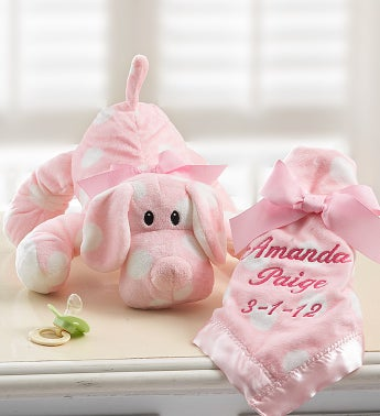 Puppy with Personalized Blanket for Girl