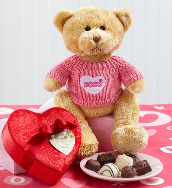 XOXO Bear with Chocolate Heart Box