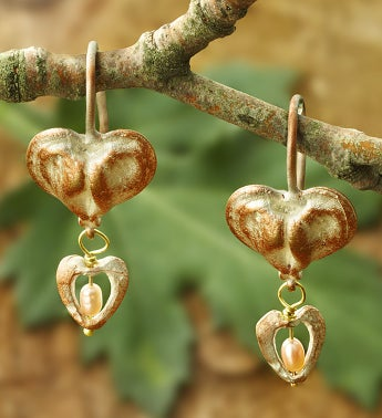 Bleeding Heart Wire Earrings