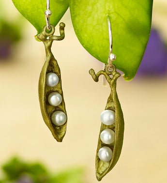 Pea Pod Small Drop Earrings