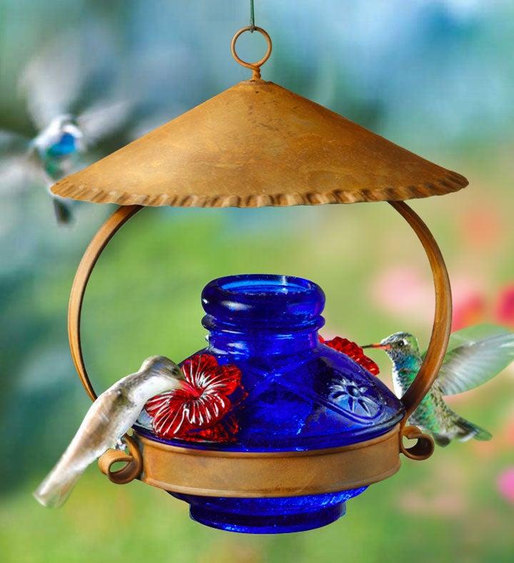 Lapis Blue Hummingbird Feeder