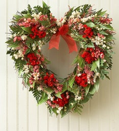 "Preserved Sympathy Heart Wreath - 16""D"