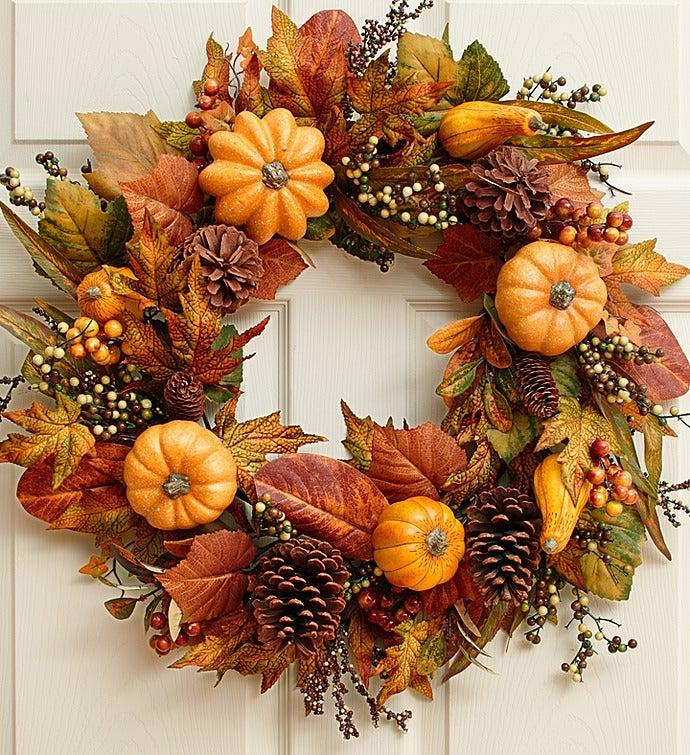 Festive Faux Pumpkin & Gourd Wreath