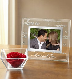 Personalized Love Frame and Preserved Rose Cube