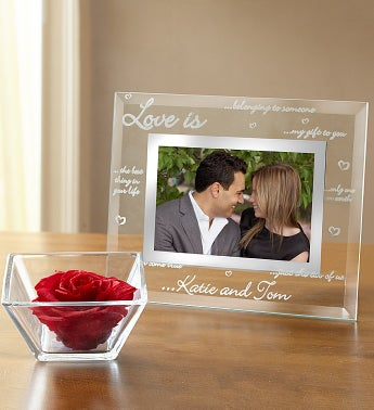 Personalized Love Frame and Preserved Rose Cube Personalized Love Frame & Preserved Red Rose