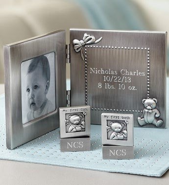 Personalized New Baby Frame Tooth & Curl Set