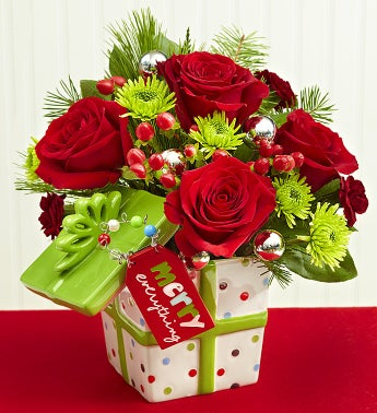 """Merry Everything"" Present Bouquet"