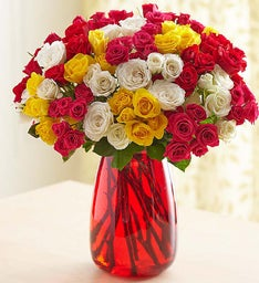 Rainbow Spray Roses + Free Vase