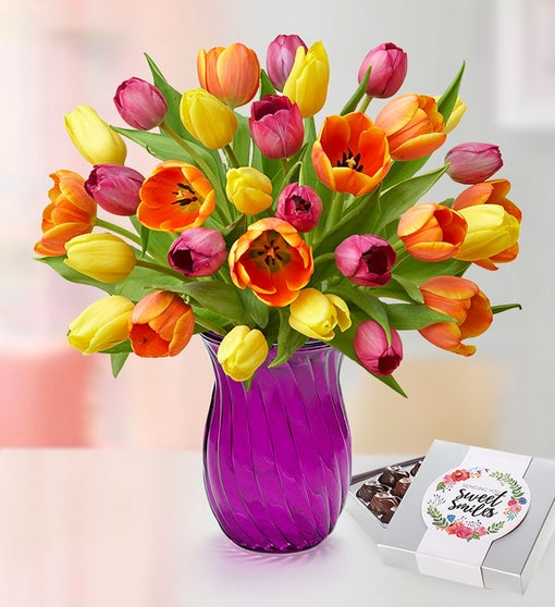 30 Assorted Tulip Stems with Purple Vase & Chocolate