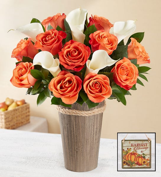 Autumn Rose & Calla Lily Bouquet with Vase