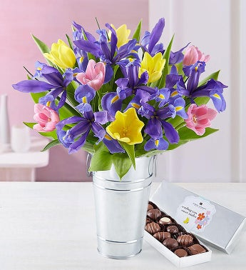 Fanciful Spring Tulip  Iris Bouquet