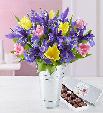 Fanciful Spring Tulip Iris Bouquet