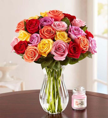 Two Dozen Assorted Roses + Free Vase & Free Candle