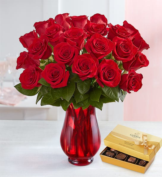 Two Dozen Red Roses Bouquet with Red Vase & Godiva Chocolate
