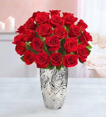 Two Dozen Red Roses with Silver Embossed Vase
