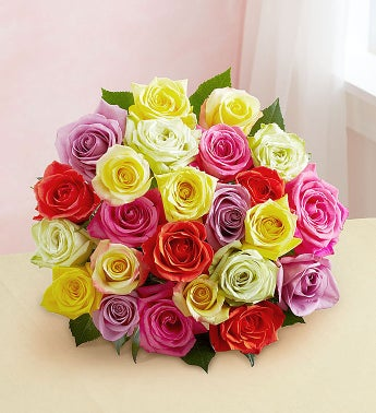 Two Dozen Assorted Roses Bouquet Only