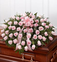 Cherished Memories Rose Half Casket Cover - Pink